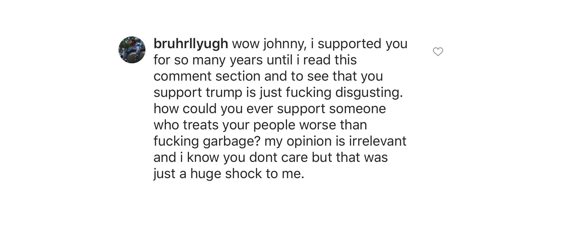 Johnny López simpatiza con Trump.