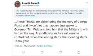 """Twitter desafía a Trump al marcar """"violento"""" su mensaje sobre muerte de George Floyd y él vuelve a amenazarlos"""