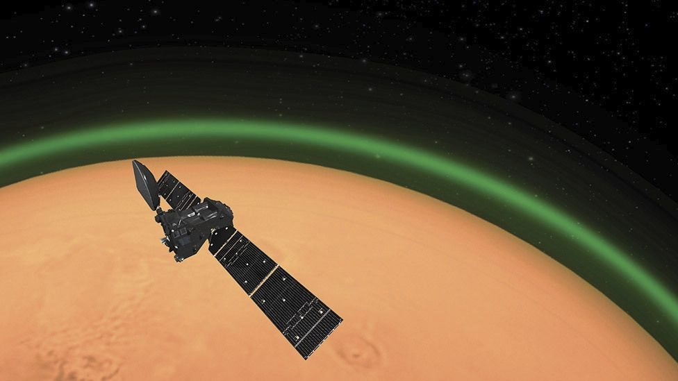 Marte: qué es el misterioso brillo verde que se desprende de la atmósfera del planeta rojo