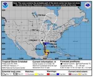 Tormenta tropical Cristóbal amenaza la costa del Golfo de Estados Unidos