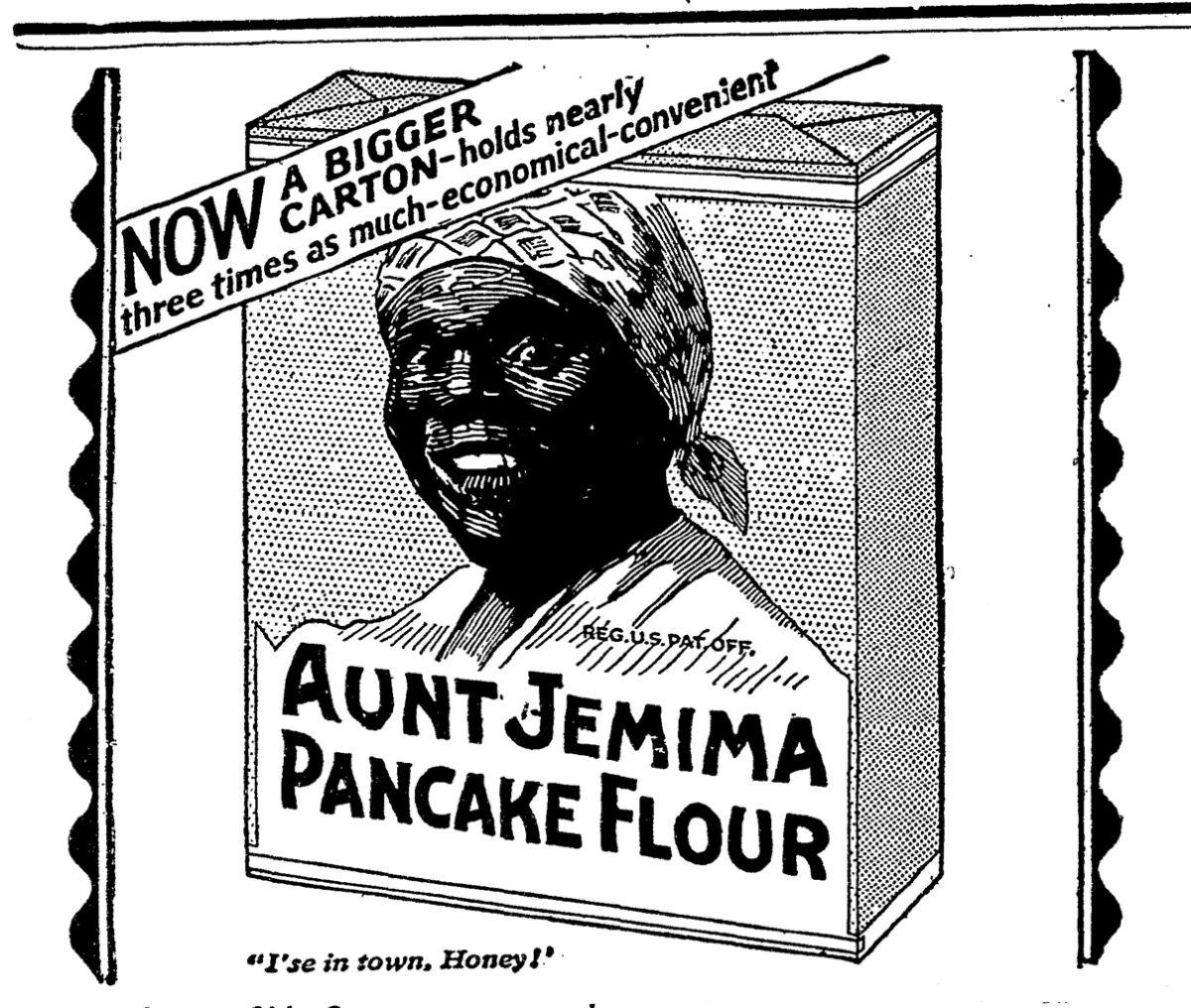 Anuncio de Tía Jemima en periódico del año 1923