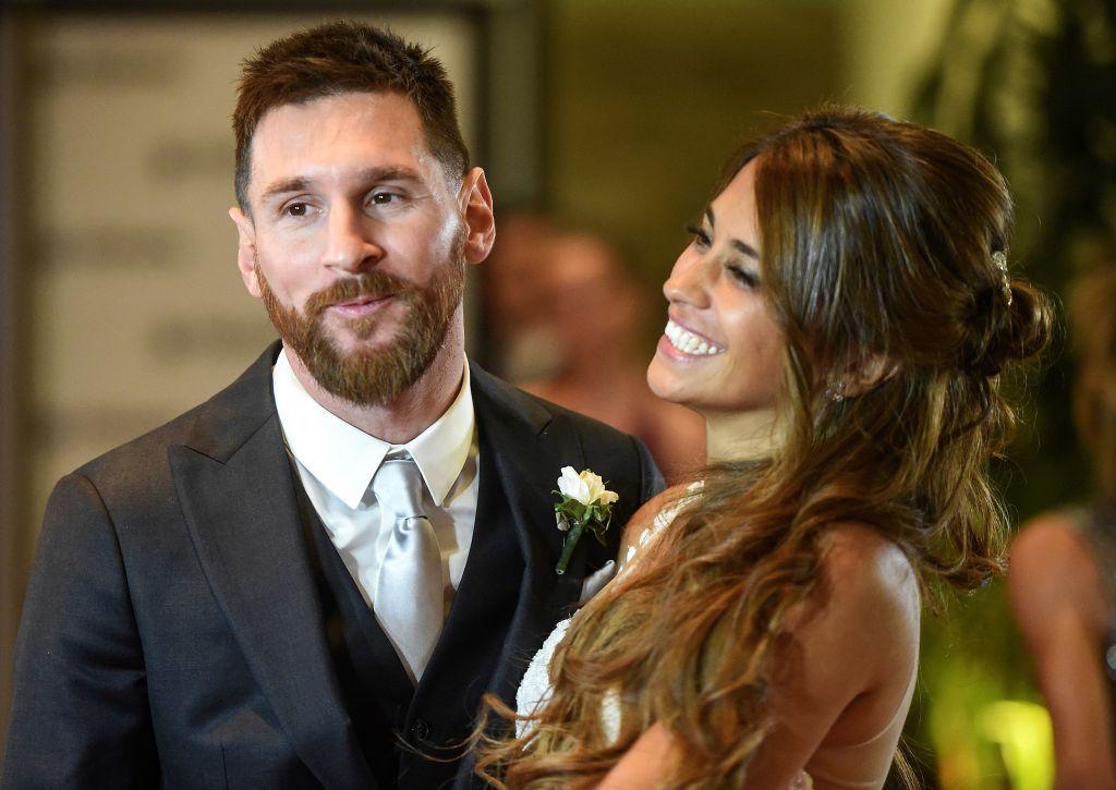 Lionel Messi y Antonella Roccuzzo el día de su boda.