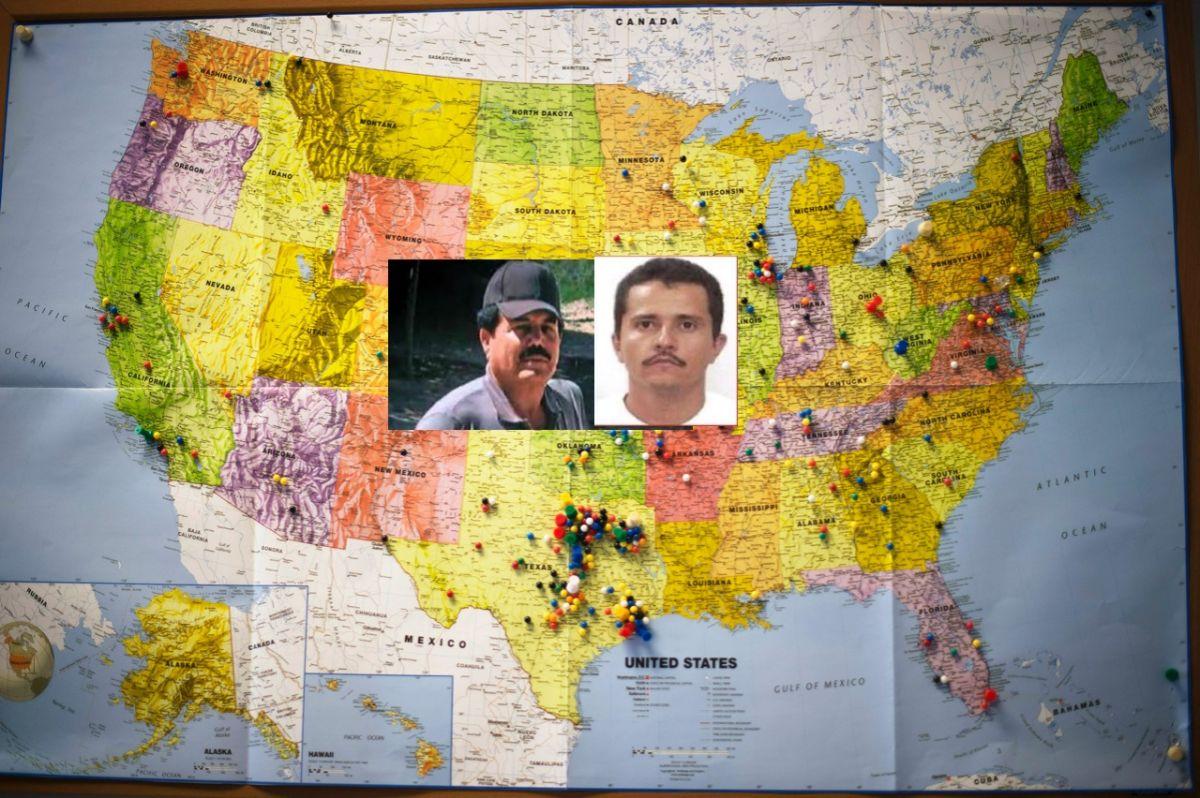 Mapa EEUU  y narcos mexicanos