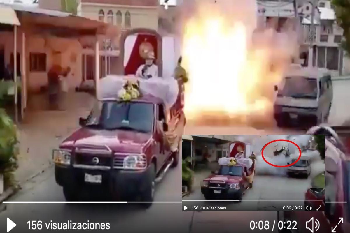 VIDEO: Niño y abuelito salen volando por explosión de pirotecnia durante procesión en México