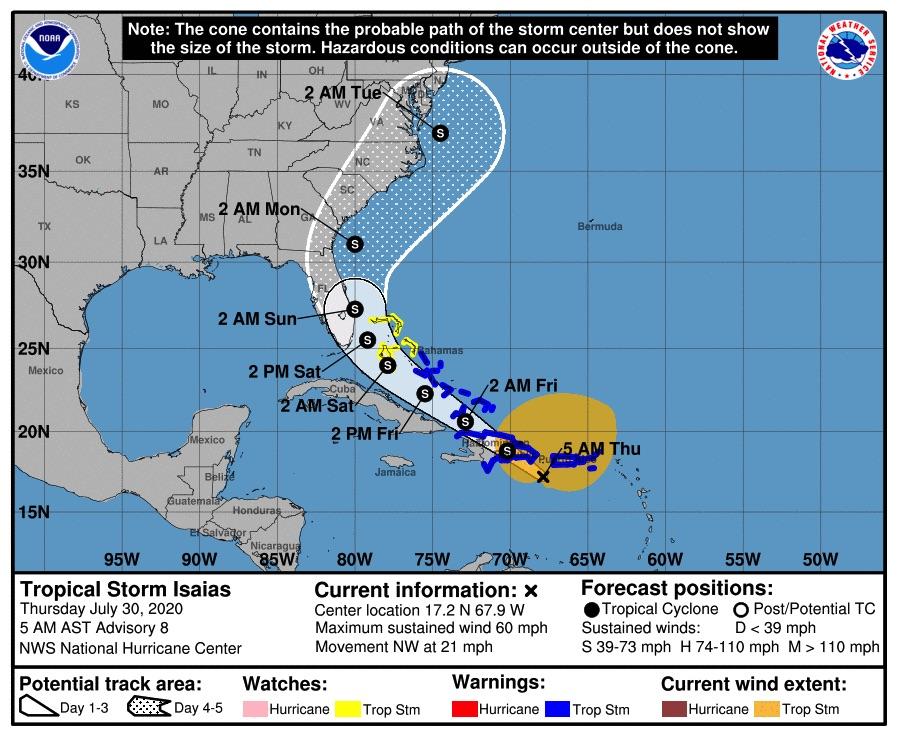 El viernes por la noche se empezarán a sentir fuertes vientos en el sur de Florida por la tormenta Isaías