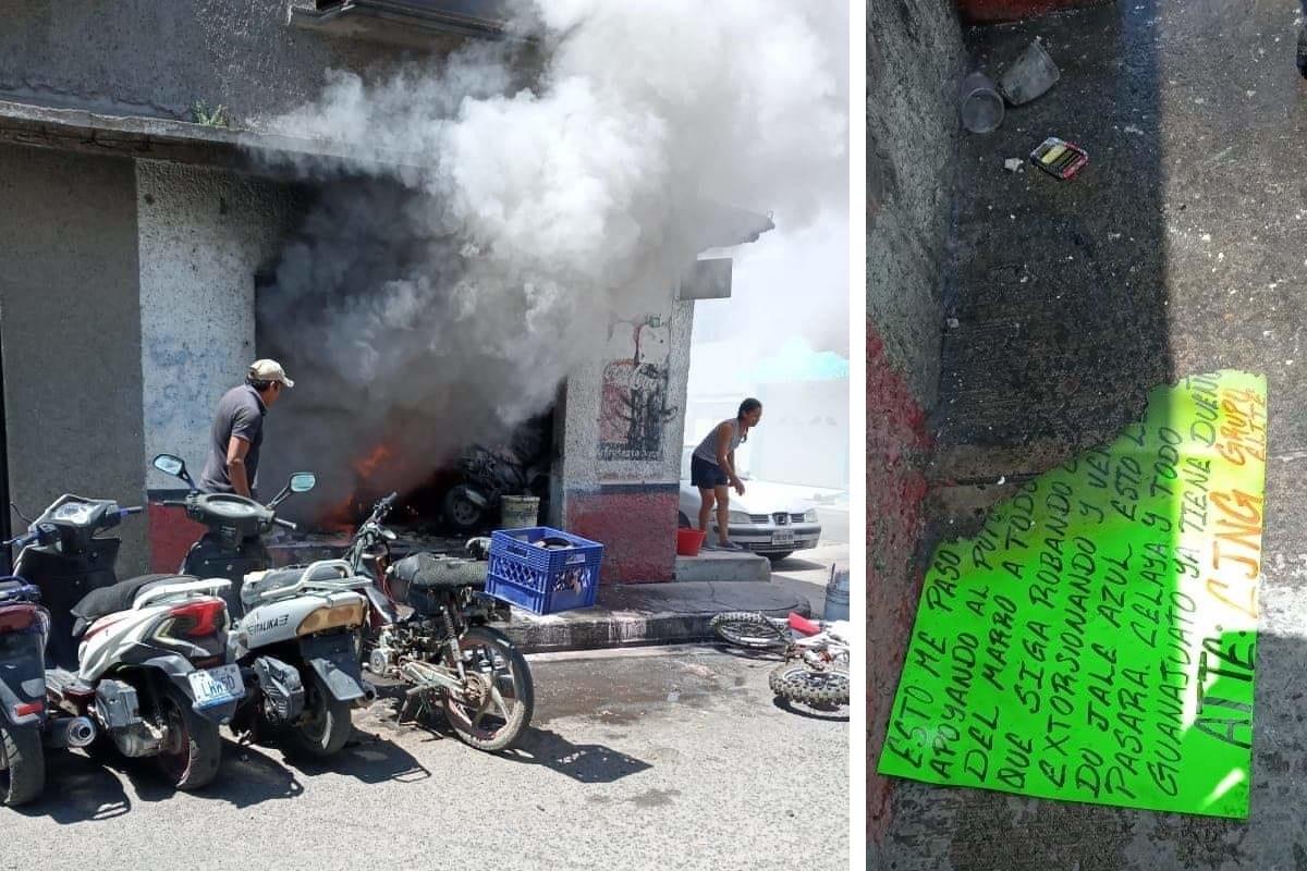 FOTOS: CJNG y ataca con granadas a negocios por supuestamente apoyar al Marro