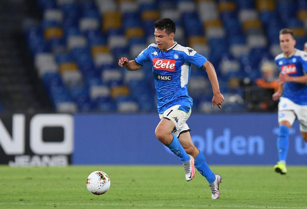 Hirving Lozano con el Napoli.