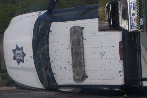 Sicarios así dejaron patrulla de policías tras atacarlos a balazos; 5 agentes murieron