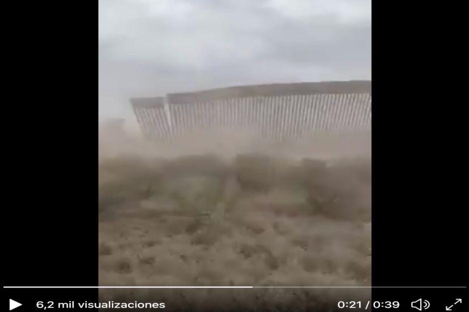 VIDEO: Vientos de Hanna derriban parte del muro fronterizo de Trump
