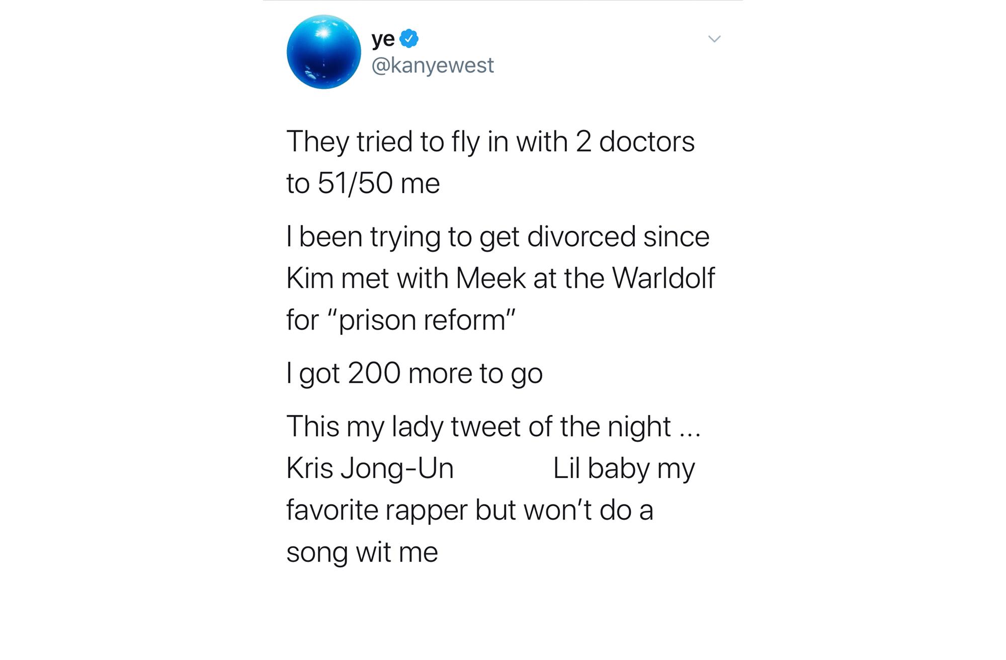 El tuit de Kanye West donde dice que le ha pedido el divorcio