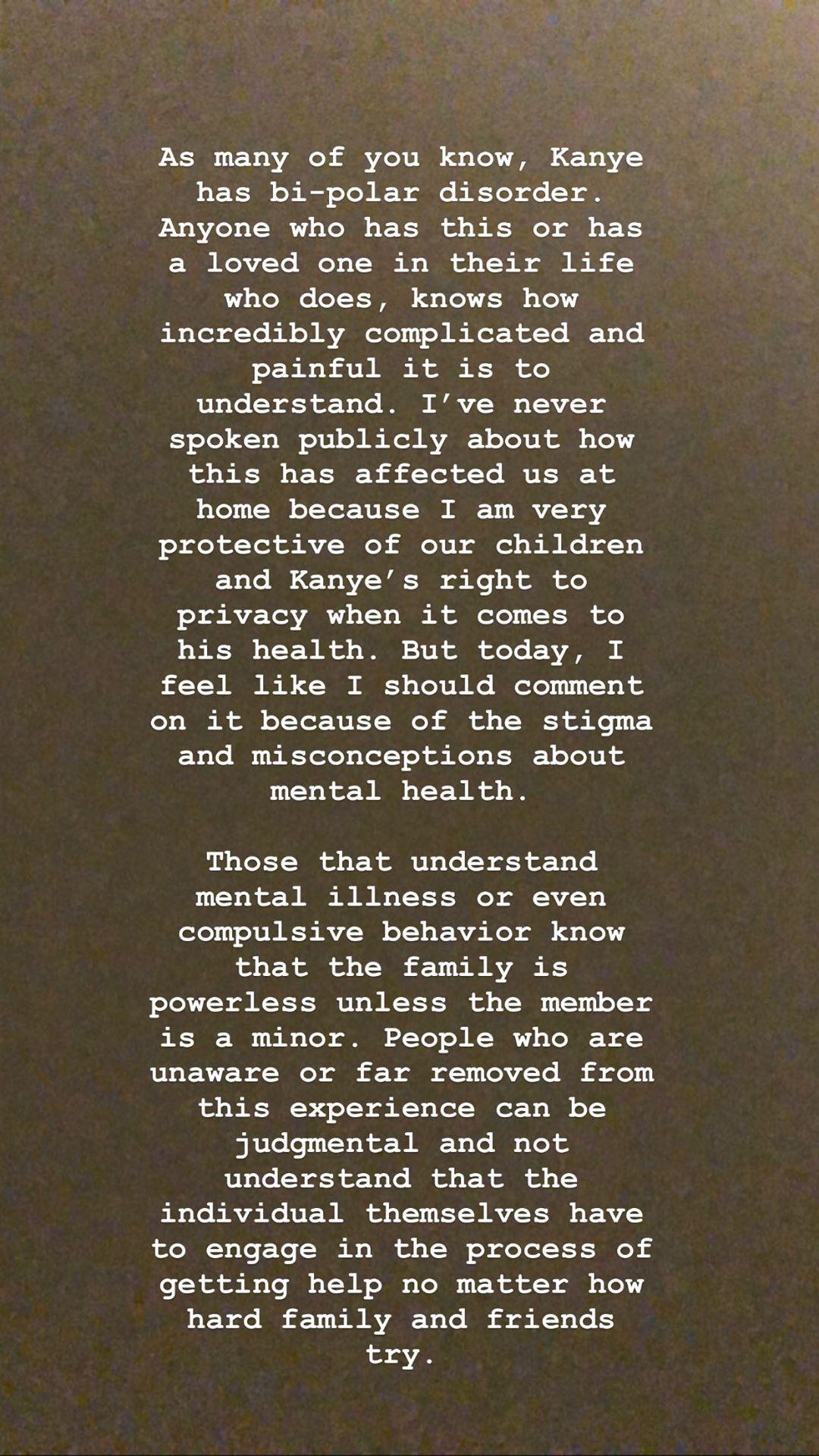 Comunicado de Kim Kardashian sobre la salud mental de Kanye West
