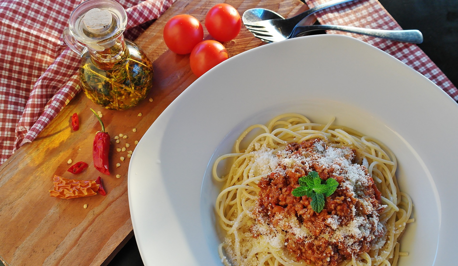 Pasta en salsa de tomate.
