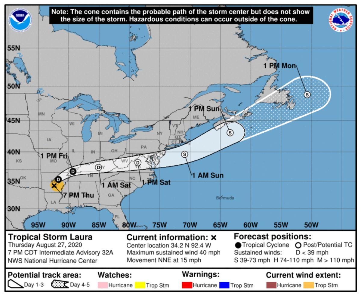 El cono contiene la posible ruta de la tormenta Laura.
