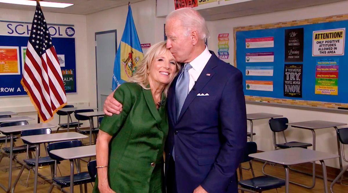 Jill Biden separa a Joe de los reporteros por temor a Covid-19