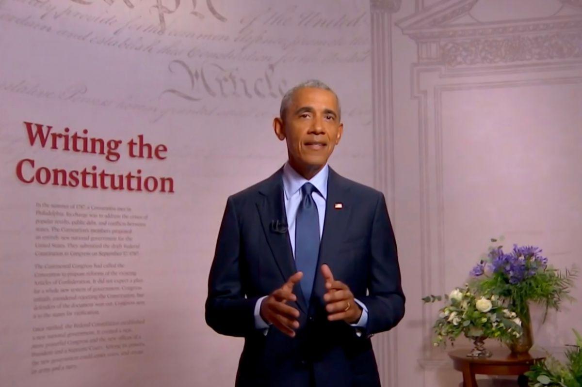 Barack Obama se dirige a la Convención Demócrata virtual el 19 de agosto de 2020.