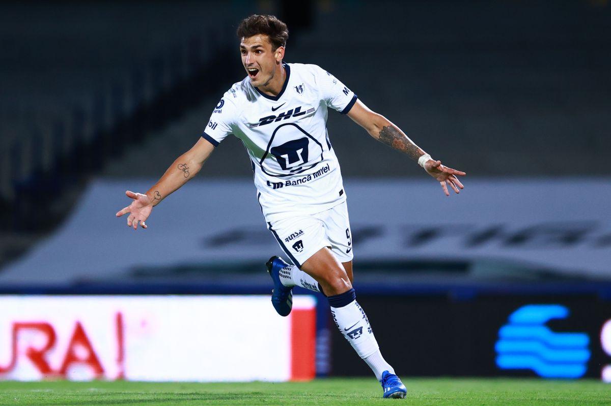 Dinenno marcó el tanto de los Pumas en el partido que terminó igualado a un gol ante los Rayados.