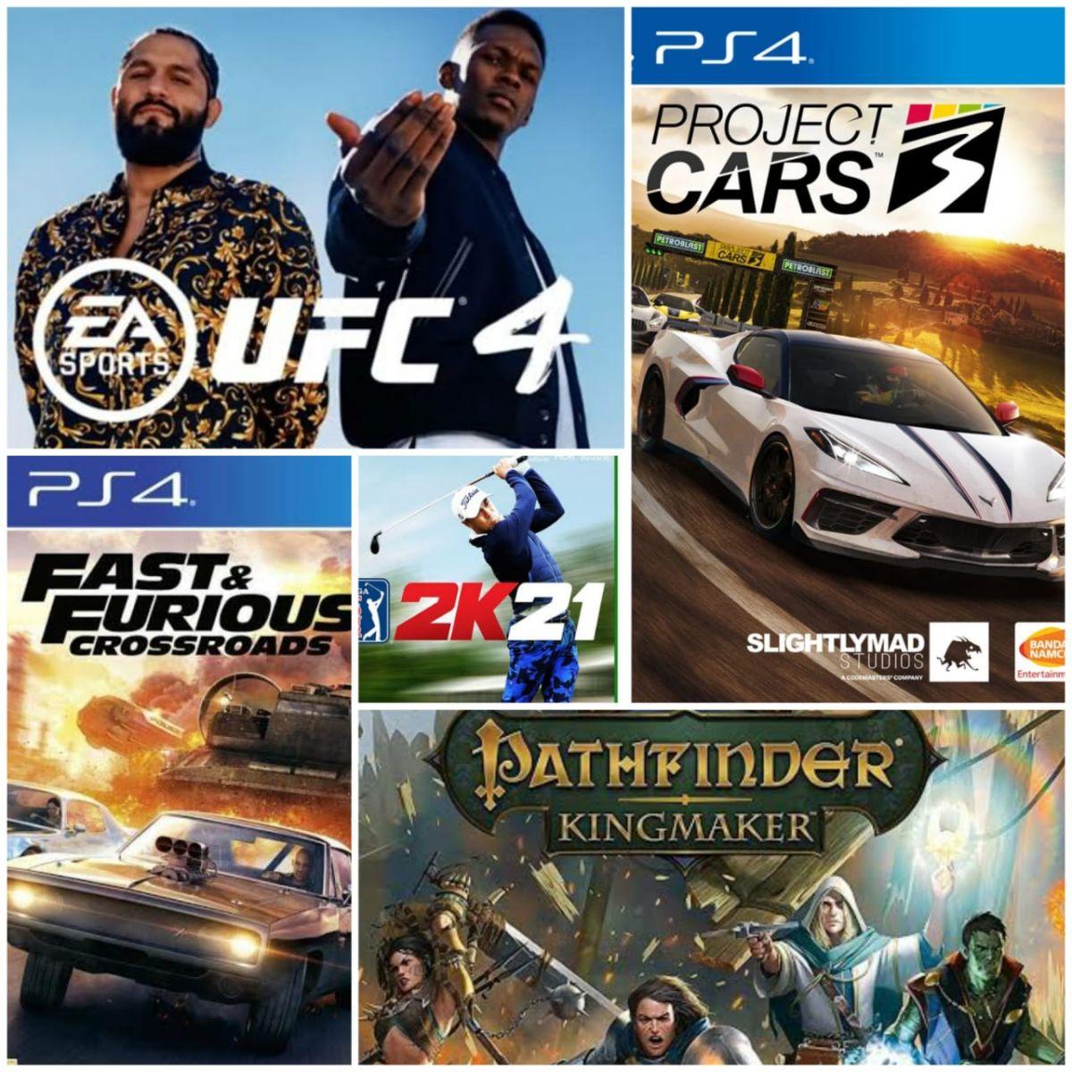 Project CARS 3, EA Sports UFC 4, Fast & Furious Crossroads, Pathfinder Kingmaker y PGA TOUR 2K21