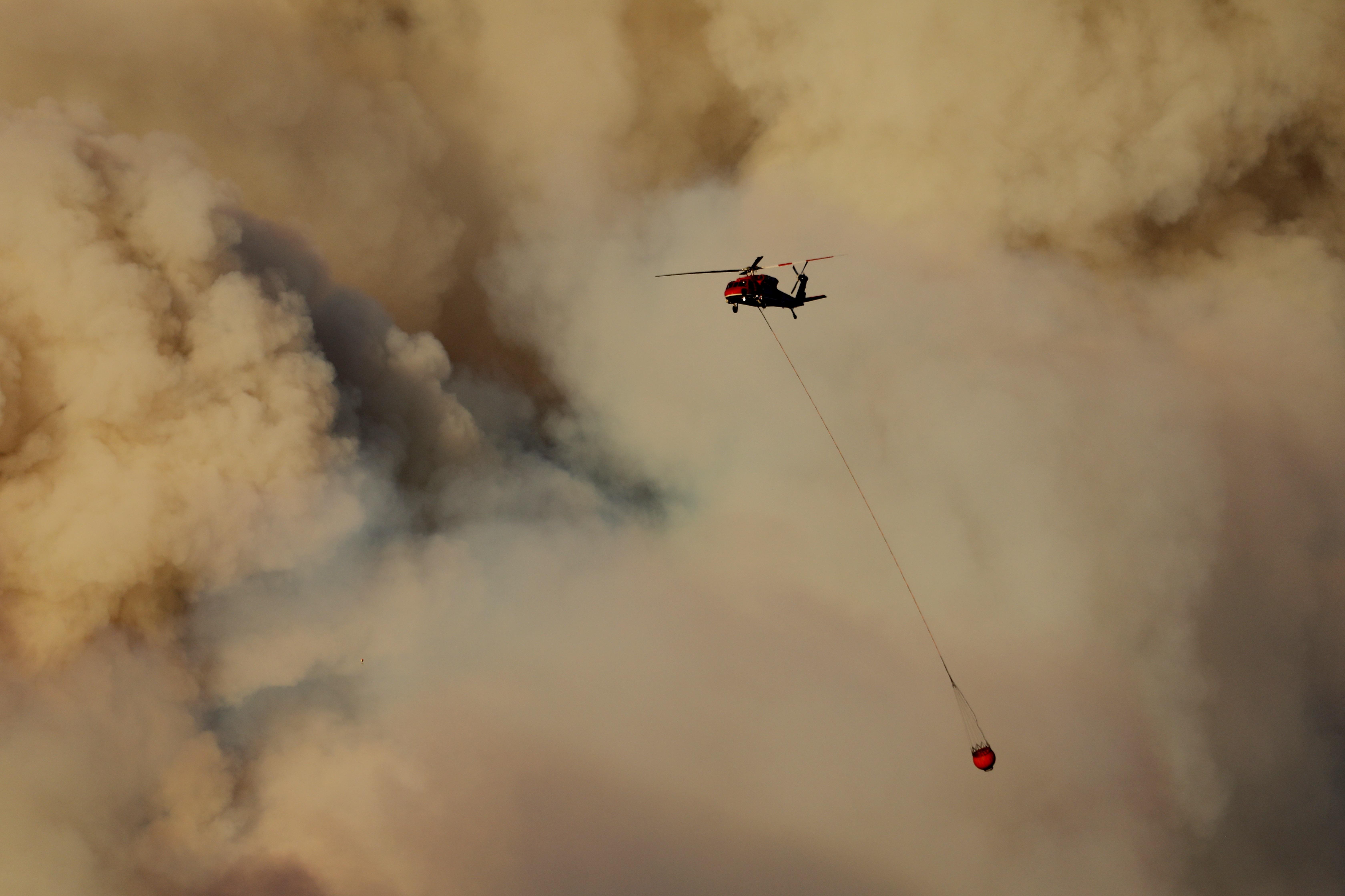 Más de 1,300 bomberos y voluntarios participan en las tareas de extinsión. Foto: DAVID SWANSON / Efe