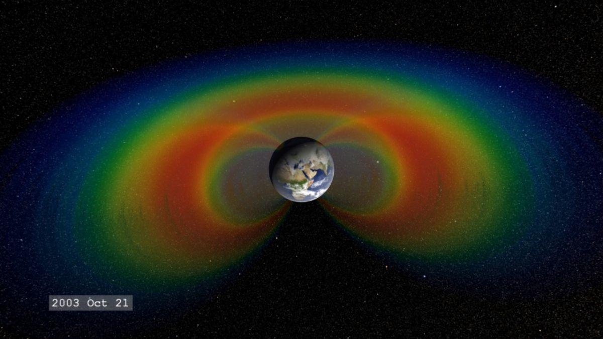 Los cinturones de Van Allen impiden que las partículas viajen a lo largo de las líneas del campo magnético de la Tierra.