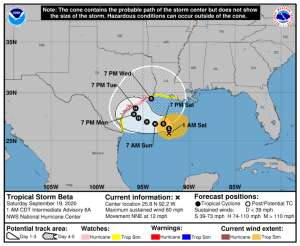 La tormenta tropical Beta amenaza con vientos y marejadas a Texas y Louisiana