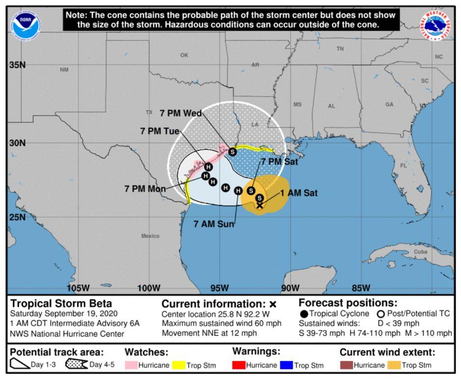 La tormenta tropical Beta amenaza con vientos y marejadas a Texas y Louisiana