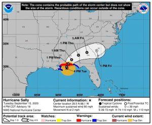 ¿Qué se puede esperar de Sally ahora que se debilitó pero sigue siendo huracán?