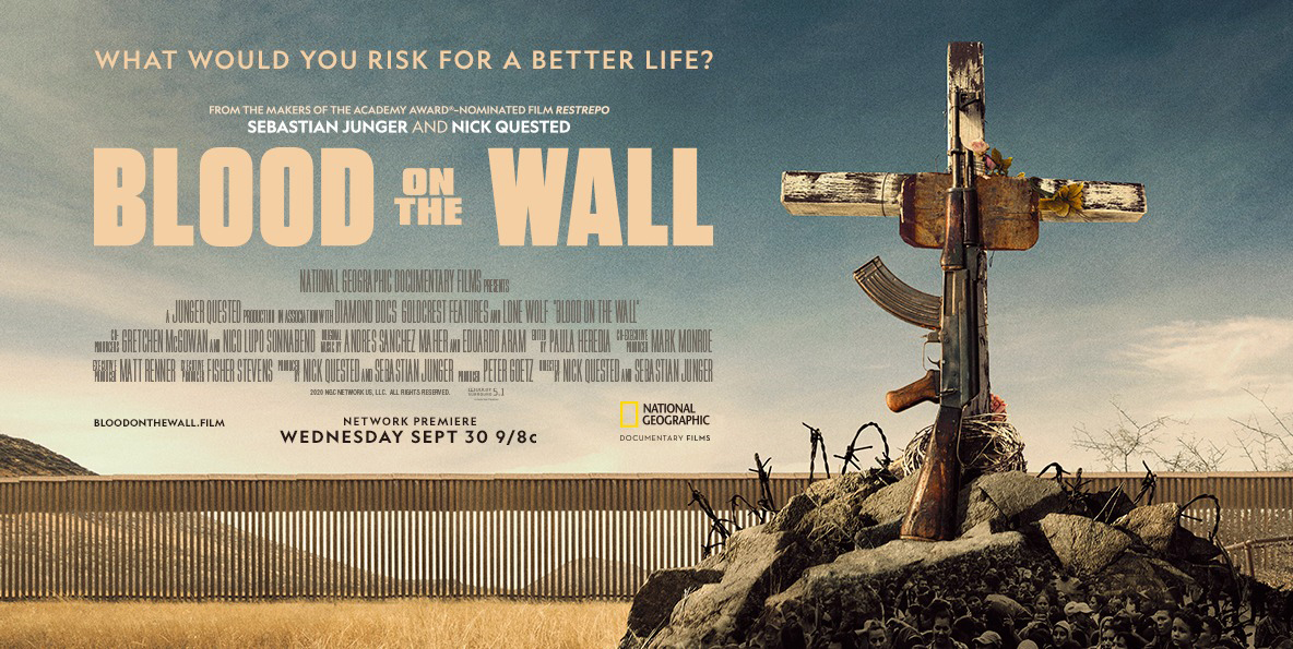 "Cartel del documental ""Blood on the Wall"" de National Geographic."