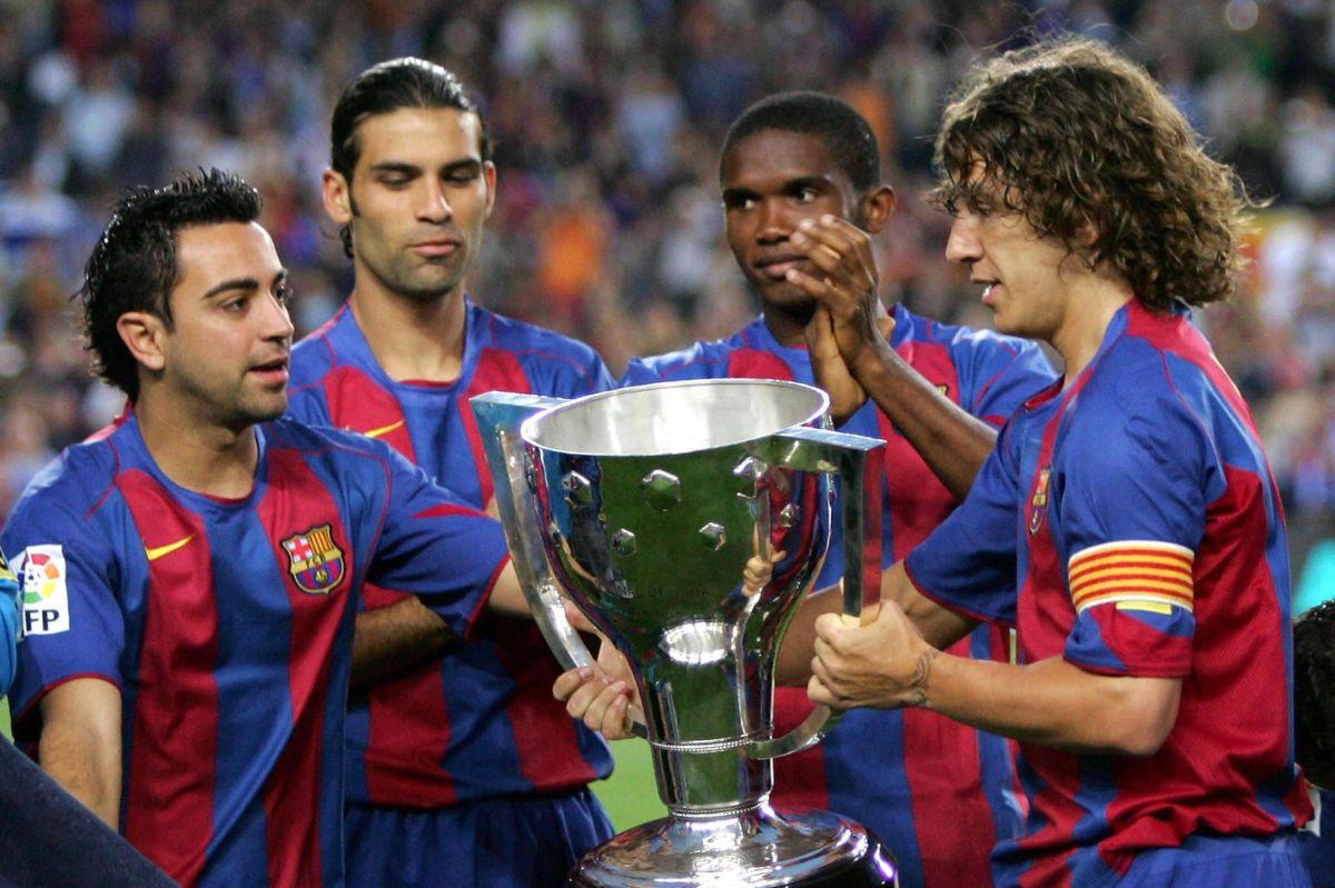 Xavi, Eto'o, Márquez y Puyol en el Barcelona en 2005.