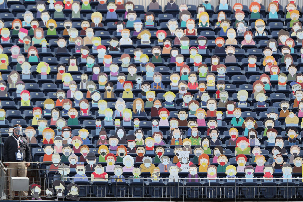 Las tribunas del estadio de los Broncos de Denver con personajes de South Park.