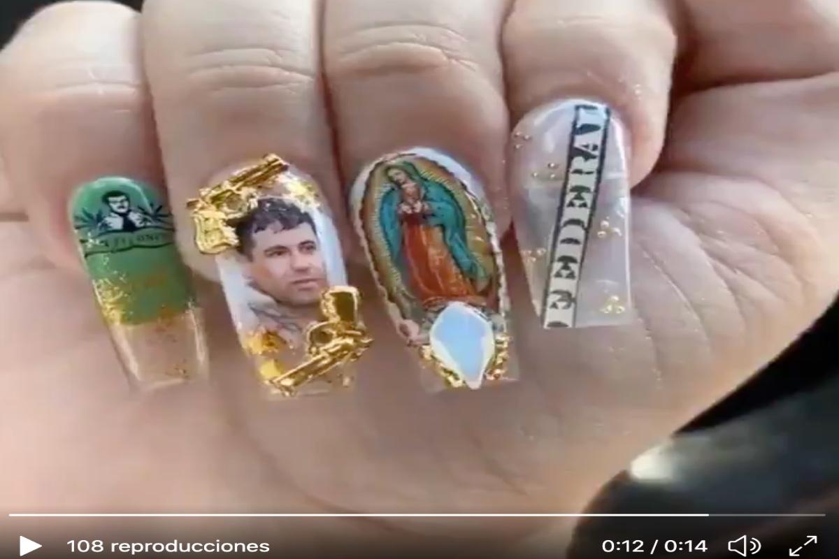 VIDEO: Mujer presume uñas con imagen del Chapo Guzmán y Virgen de Guadalupe