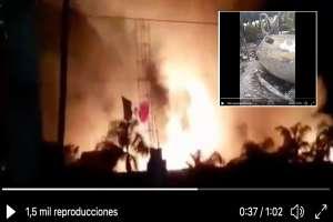 VIDEO: Sicarios balean y queman restaurante, había al menos 2 personas adentro