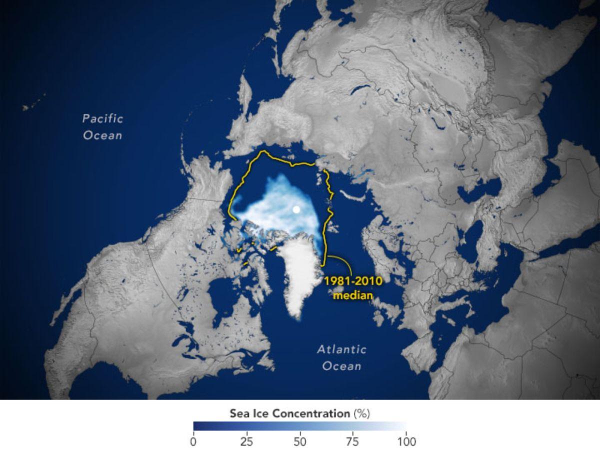 El hielo marino continúa reduciendo su área en el Ártico.