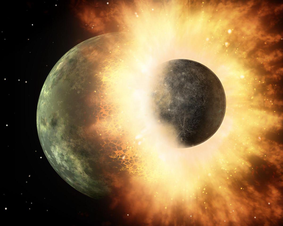 La ilustración creada por un artista muestra la colisión de dos planetas.