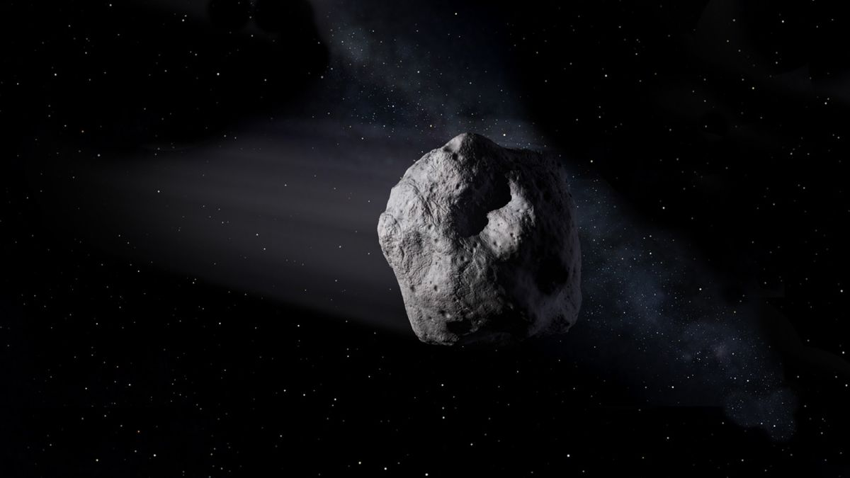 La ilustración muestra un asteroide cercano a la Tierra como el asteroide 2020 SW viajando a través del espacio.