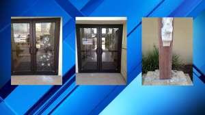 Hombre vandaliza un crucifijo en un seminario en Texas; le cubrió el rostro con una playera y le rompió un pie