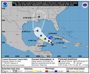 Nueva depresión tropical en el Caribe puede derivar en la tormenta tropical Zeta
