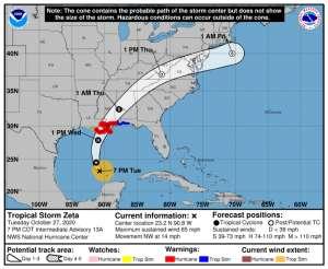 Zeta ganará fuerza de huracán antes de llegar a la costa sur de Estados Unidos