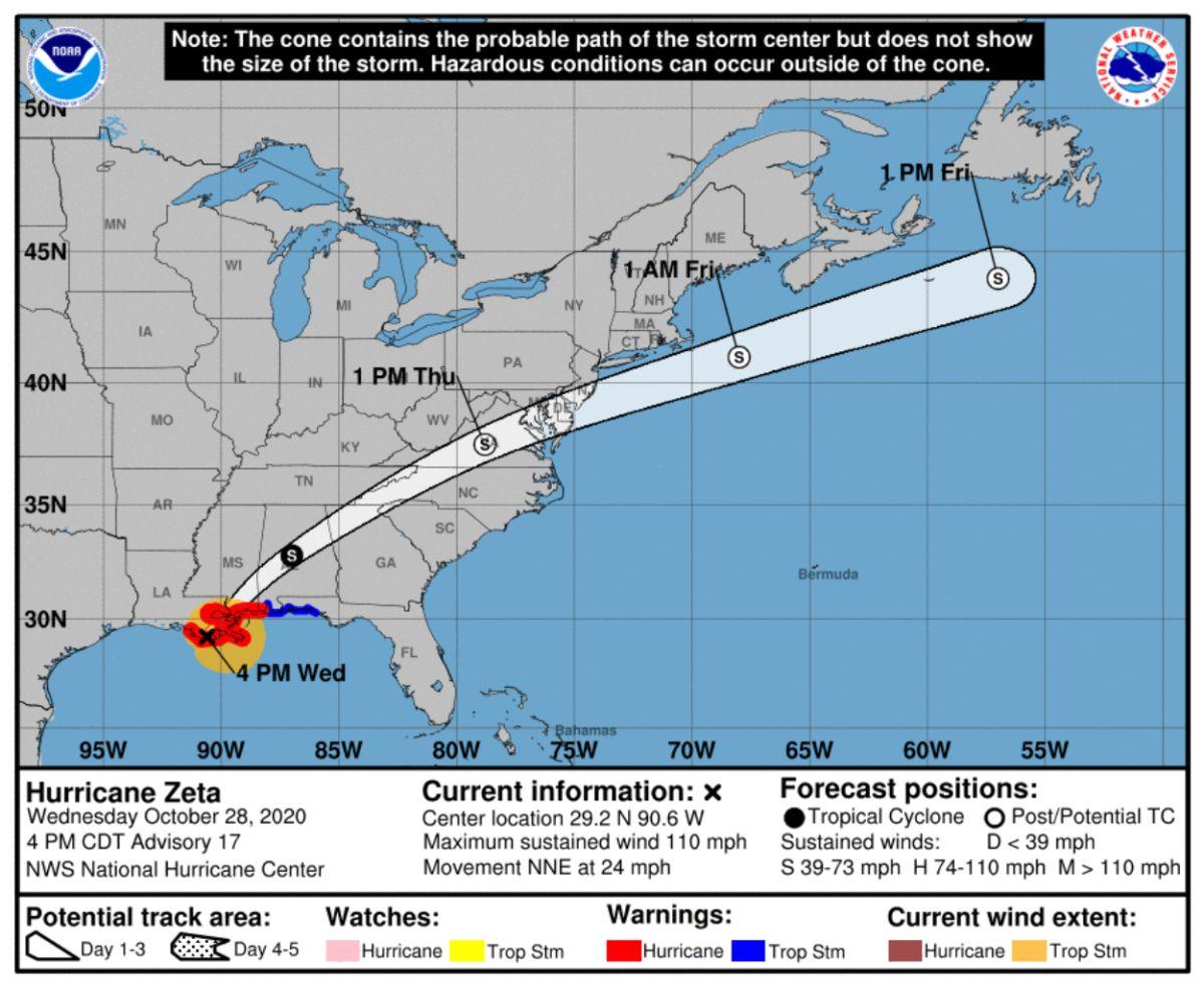 El huracán Zeta llega a tierra en Louisiana con vientos de 110 mph