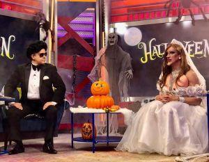 Javier Ceriani y Elisa Beristain se disfrazan de Ninel Conde y Larry Ramos para Halloween