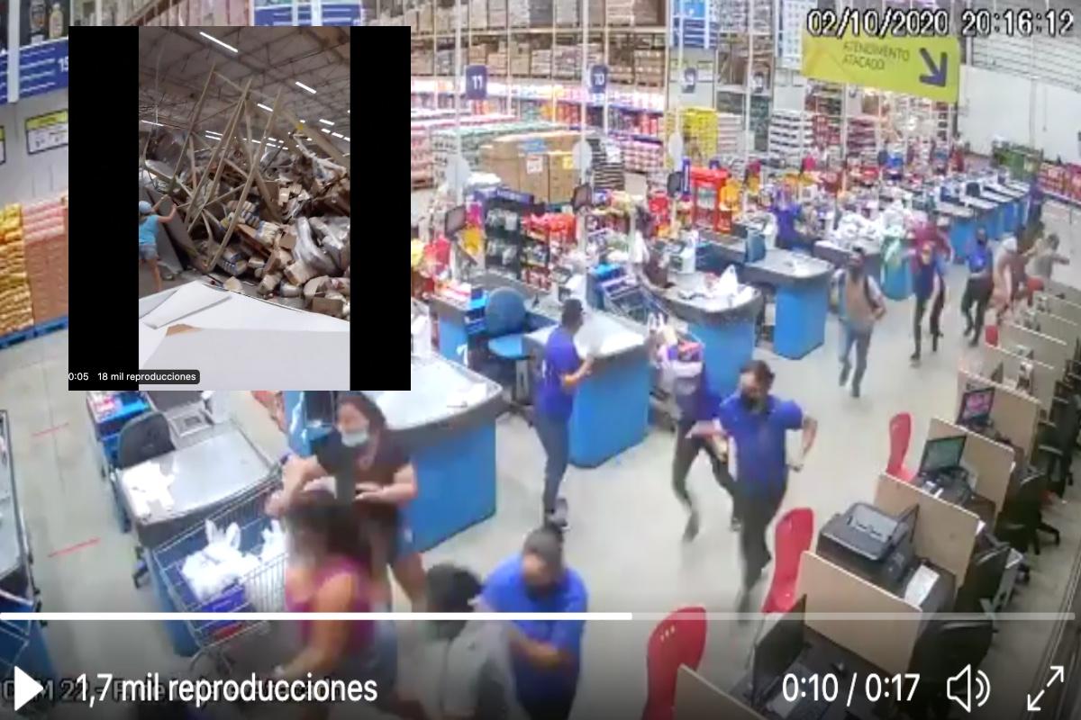 VIDEO: ¡Tragedia! escaparates aplastan a clientes y empleados en supermercado mayorista de Brasil