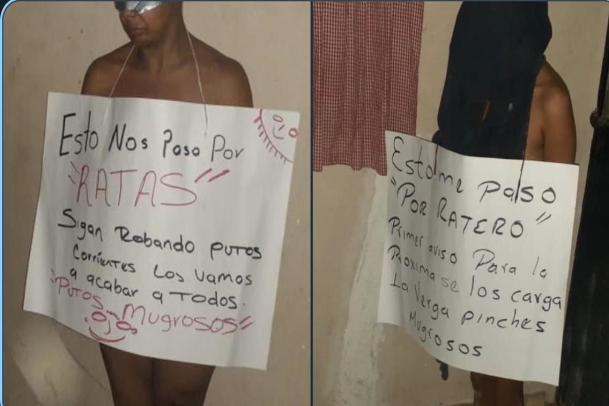 """FOTOS: """"Esto nos pasó por ratas"""", narcos desnudan y exhiben a presuntos delincuentes"""