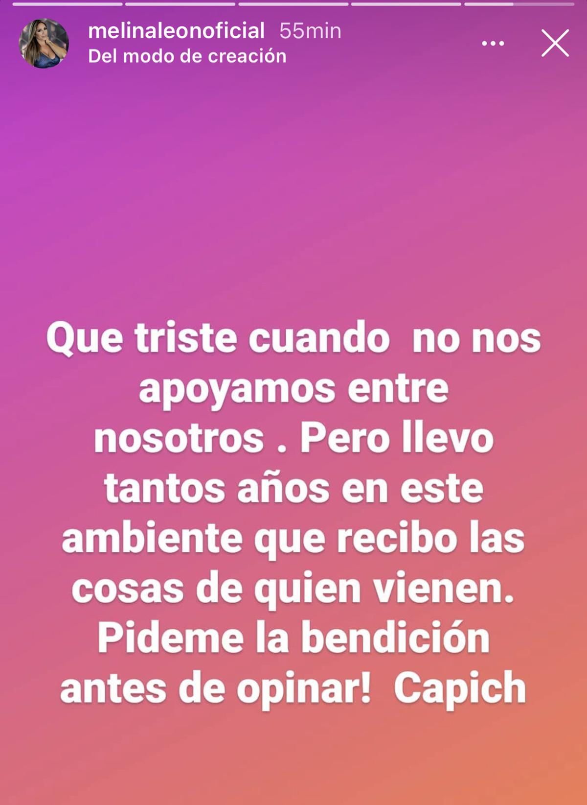 Melina León escribió esto en su Instastory