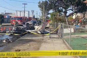 Activistas piden clausurar el aeropuerto de Pacoima luego de que una avioneta se estrellara muy cerca de unas viviendas