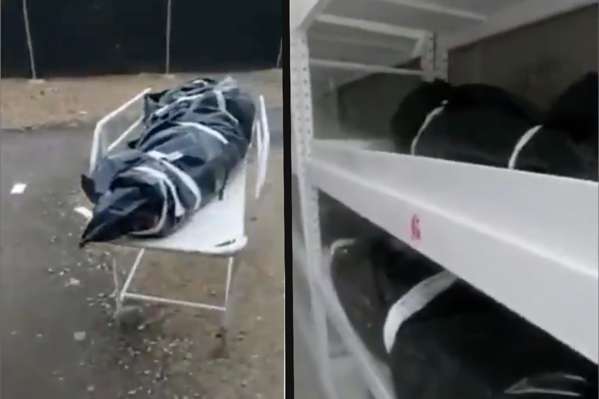 Camillero muestra cuerpos de muertos por coronavirus en hospital de Colombia.