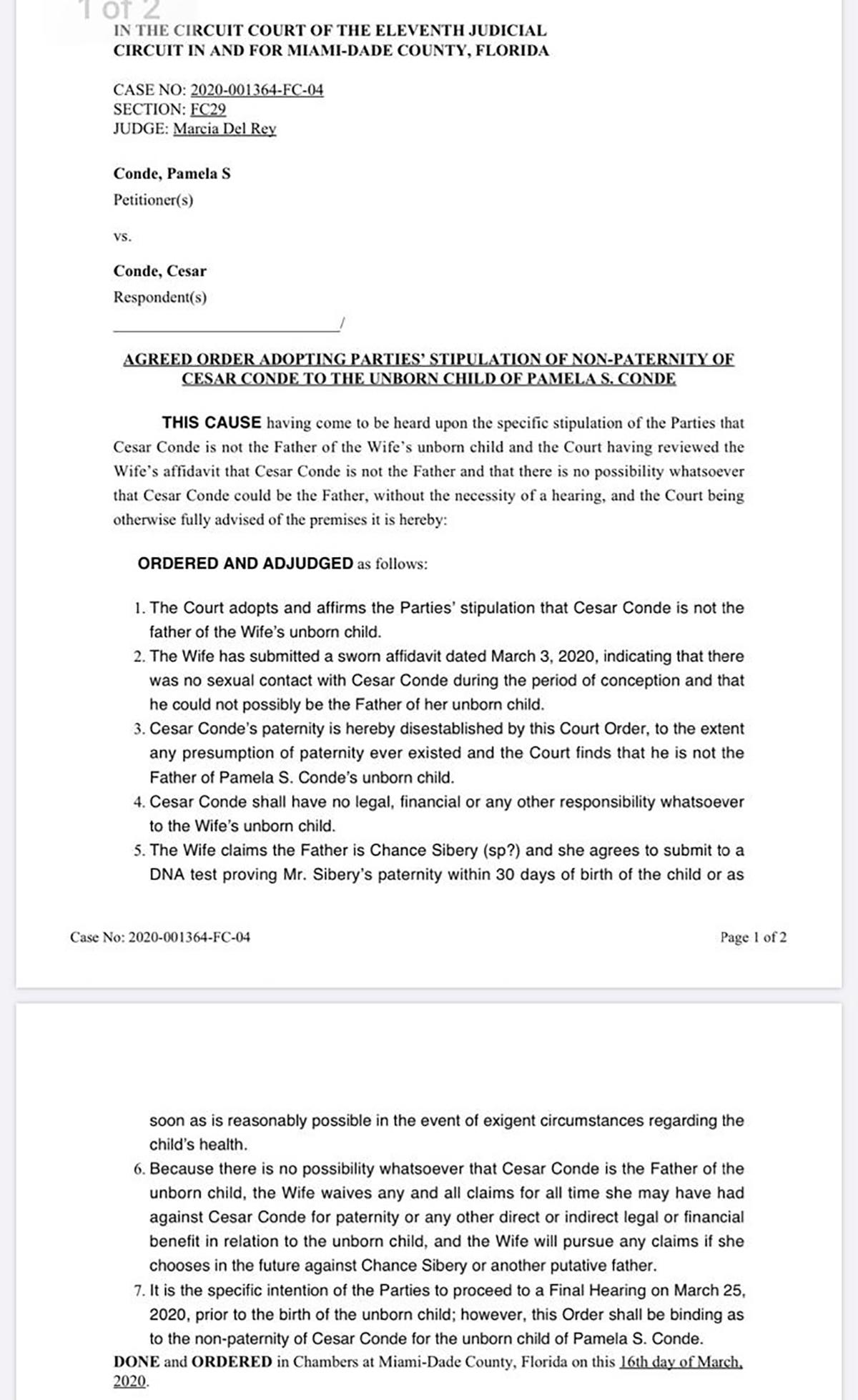 Documentos de divorcio de Pamela Silva-César Conde