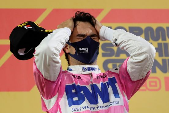 """Un emocional """"Checo"""" Pérez luego de ganar su primer Gran Premio."""