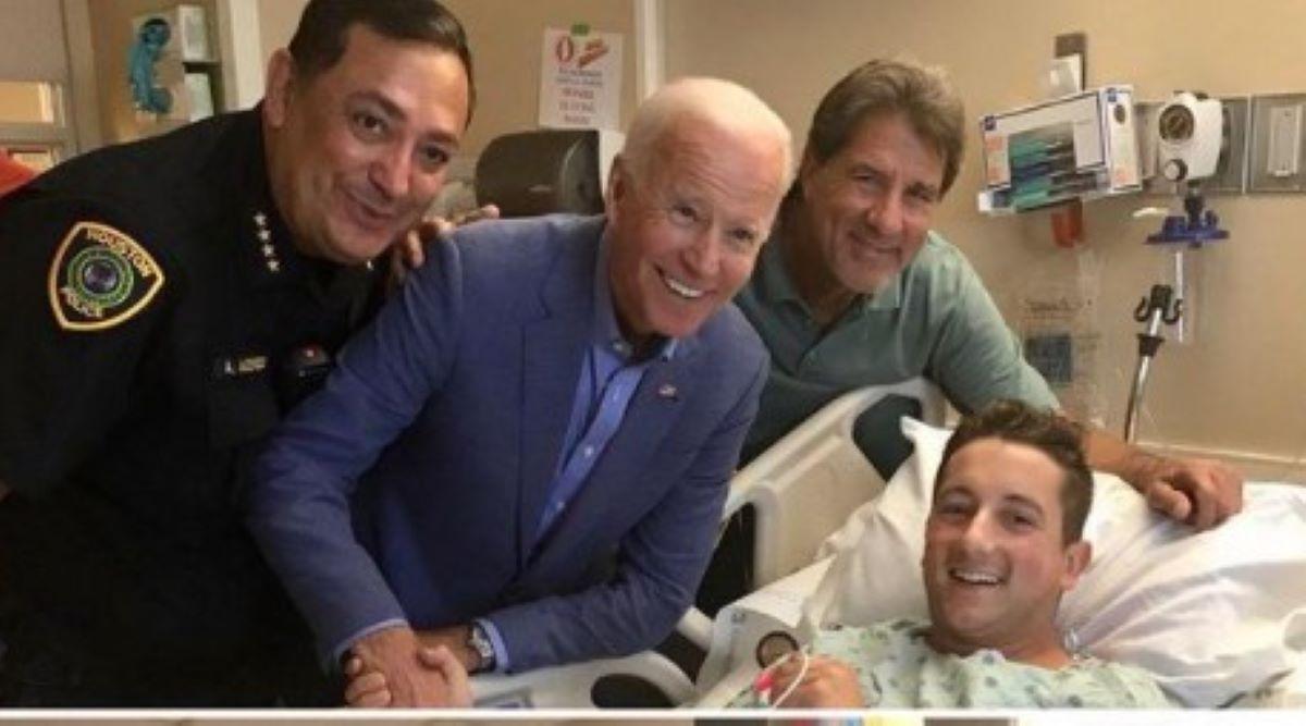 El presidente Joe Biden visitó en secreto a un oficial de Houston baleado.