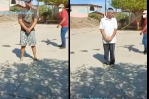 """VIDEO: """"Castigan"""" a latigazos a hombres por no usar cubrebocas en zona narco"""
