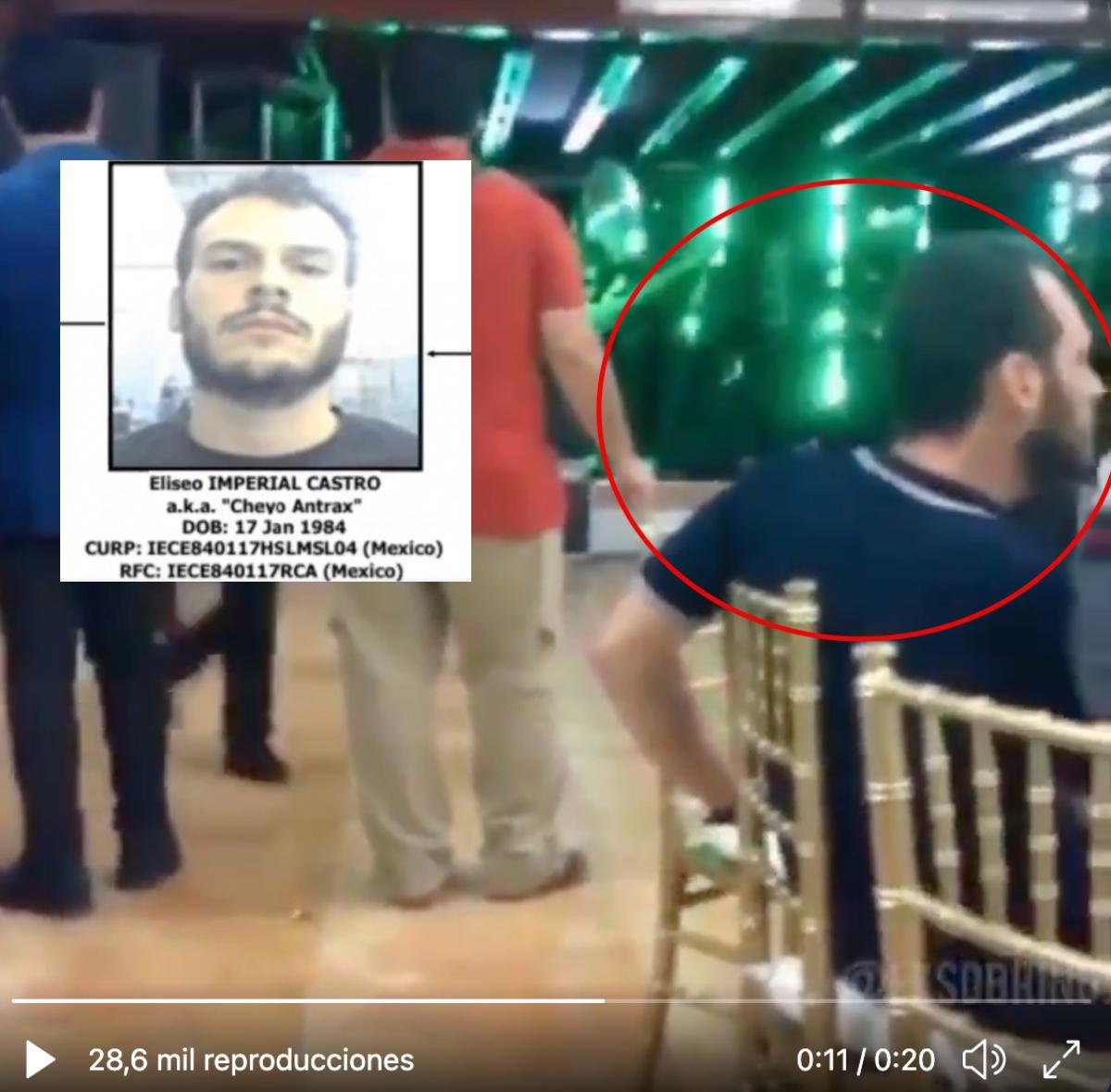 VIDEO: Captan Eliseo Imperial Castro, alias el Cheyo Ántrax en narcofiesta