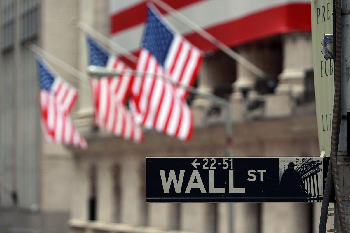 Cartel de la Calle Wall Street en Nueva York.